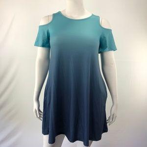 Loose O-Neck XL Shades Cold Shoulder Shift Dress